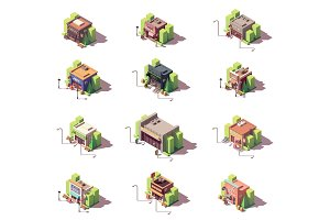 Vector isometric shops icon set