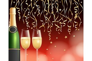 Champagne and confetti background