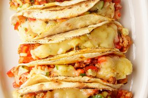 Mexican tacos with chili con carne