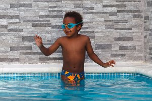 Little african child in the pool