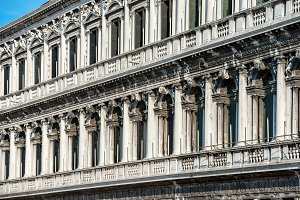 Facade of white Doge's Palace in Ven