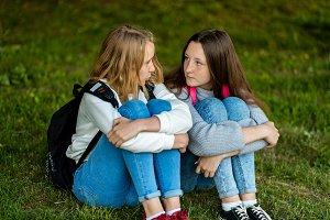 Two girls schoolgirl after school