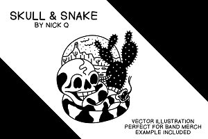 Skull & Snake Illustration