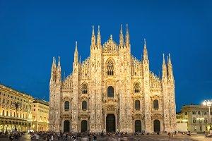 Night view of Milan Cathedral
