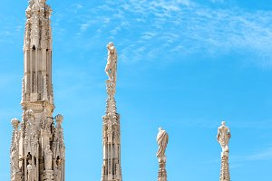 Statues on the roof of famous Milan