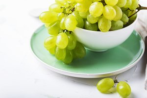Sweet white grape on the table