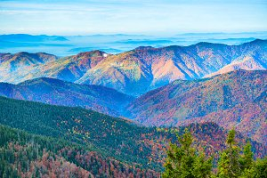 Landscape with colorful mountain ran