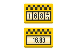Yellow Taximeter Icon Set