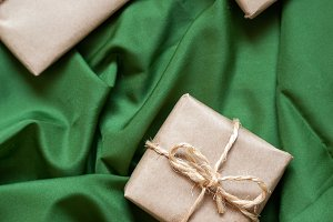 Christmas gift packs with rustic bac