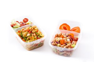 Lunch boxes with healthy food
