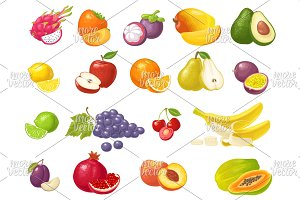 Set tropical fruits
