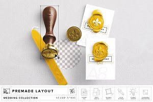 Wax Stamp & A8 Card Mockup
