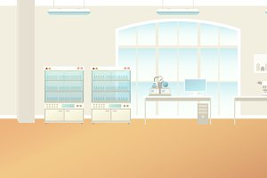 Scientific laboratory interior scene