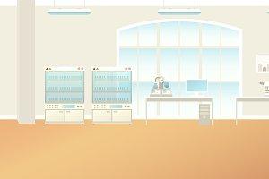 Scientific laboratory interior scene