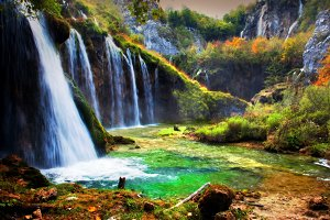 Waterfall in forest, Croatia