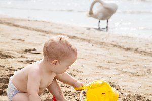 Baby boy playing on the sandy beach