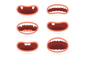 Cartoon Style Mouths Set