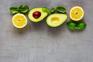Avocado, lemon and basil
