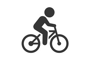 Man on Bicycle and Scooter Icons