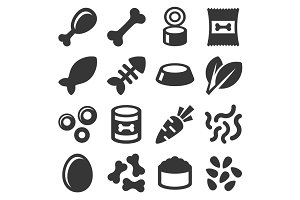 Pet Food Icons Set