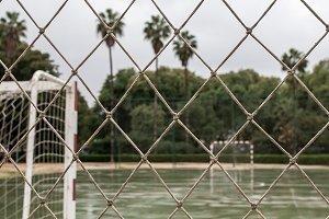 soccer field seen through network