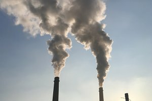 Smoke, pollution from factory pipes