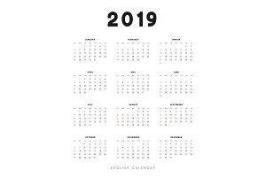 English calendar for 2019 years