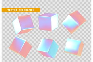 3d cubes bright neon color.