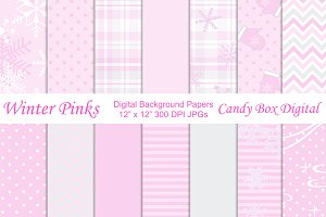 Winter Pink Digital Background Paper