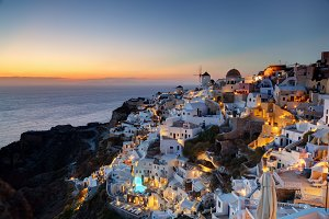 Oia town(Santorini Island) at sunset
