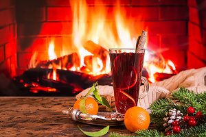 Hot mulled wine in a glass