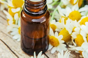 Chamomile extract in a small bottle.