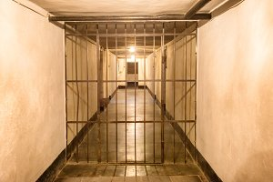 Prison cell with iron bars