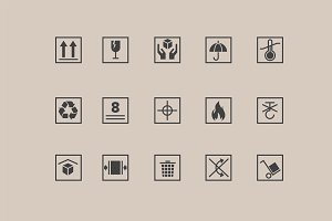15 Packaging Symbol Icons