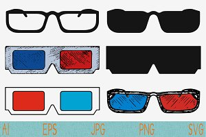 3d cinema glasses svg vector png