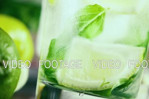 Slow motion in a misted glass with