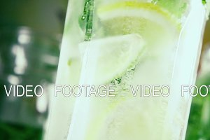 Slow motion citrus with ice and mint