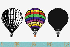 hot air balloon, vector svg png eps