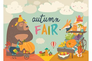 Cute animals on autumn fair