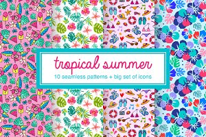 Tropical summer pattern vector set
