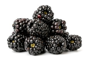 A bunch of ripe blackberries