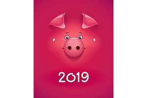 Red pig. Concept design for new year