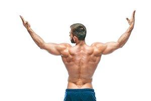 bodybuilder posing. Beautiful sporty