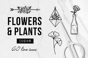 60 Plant & Flower Icons - Floral