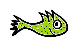 Cute Fish Cartoon Kids Style Drawing