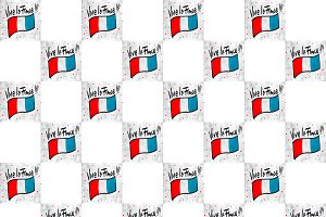 Vive La France Motif Hand Drawn Illu