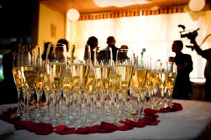 Champagne glasses at the party