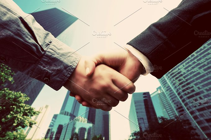 Business handshake. Vintage, retro - Business