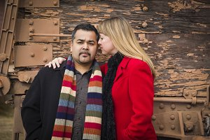 Mixed Race Couple Portrait in Winter