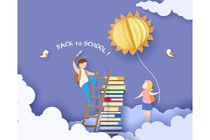 Back to school card with boy, books